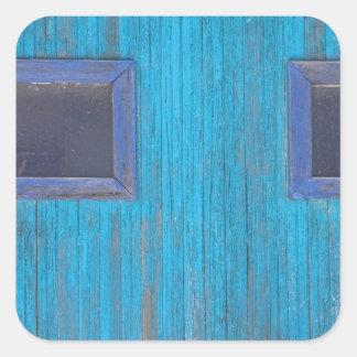 Old Wood Blue Garage Door Square Sticker