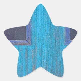 Old Wood Blue Garage Door Star Sticker