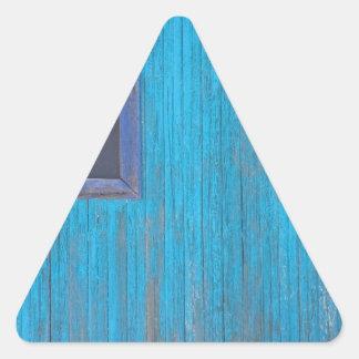 Old Wood Blue Garage Door Triangle Sticker
