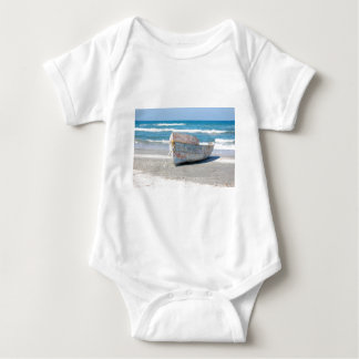 OLD WOOD BOAT 1083 PHOTOGRAPHY OCEAN TRANSPORTATIO BABY BODYSUIT