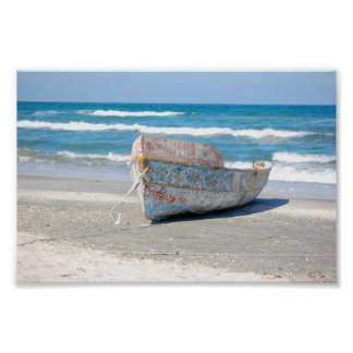 OLD WOOD BOAT 1083 PHOTOGRAPHY OCEAN TRANSPORTATIO POSTER