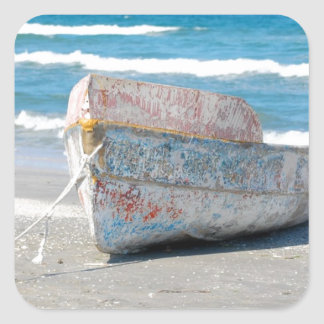 OLD WOOD BOAT 1083 PHOTOGRAPHY OCEAN TRANSPORTATIO SQUARE STICKER