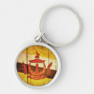 Old Wood Brunei Flag Silver-Colored Round Keychain