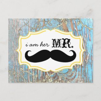 Old Wood Country Chic Swirly Vine I am Her Mr. Post Cards