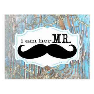 Old Wood Country Chic Swirly Vine I am Her Mr. Post Card