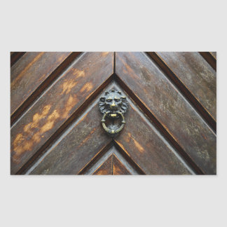 old wood door lion head  metal handle knock rectangular sticker