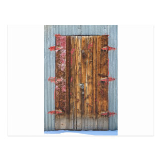 Old Wood Door With Six Red Hinges Postcard