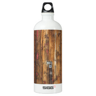 Old Wood Door With Six Red Hinges Water Bottle