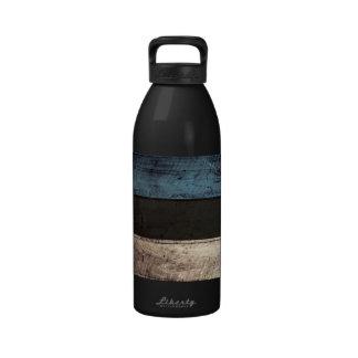 Old Wood Estonia Flag; Reusable Water Bottle