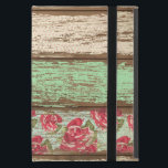 """Old Wood Fence Retro Vintage Floral Personalized Case For iPad Mini<br><div class=""""desc"""">COLOR PALETTE: soft white, brown, tan, mint green, blush pink, rose and aqua blue DESIGN COLLECTION: Fun retro vintage flowers are worn, torn and on an aged wood fence background. Old wallpaper style designs mixed with polka dots and modern florals for an eclectic cute mix for a girly girl. Roses...</div>"""
