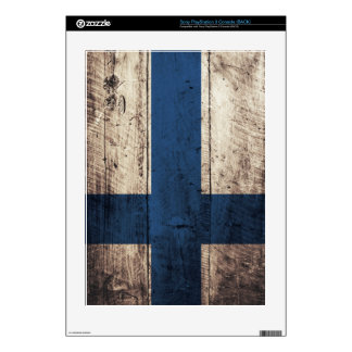 Old Wood Finland Flag Skins For PS3 Console