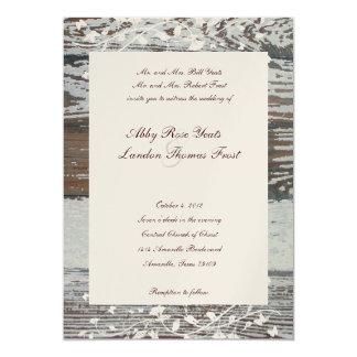 Old Wood Floral Wedding Invitation--Gold Tint 5x7 Paper Invitation Card
