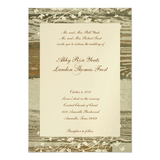 Old Wood Floral Wedding Invitation--Gold Tint Card