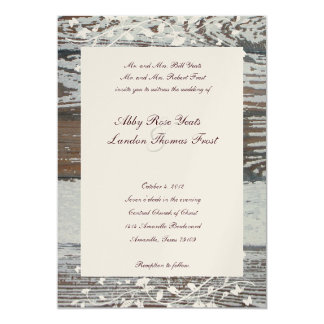 Old Wood Floral Wedding Invitation--Gold Tint Card