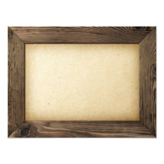 Old Wood Frame With Yellowed Paper Inside Photo