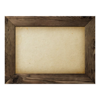 Old Wood Frame With Yellowed Paper Inside Poster