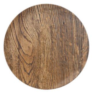 Old wood grain look dinner plate