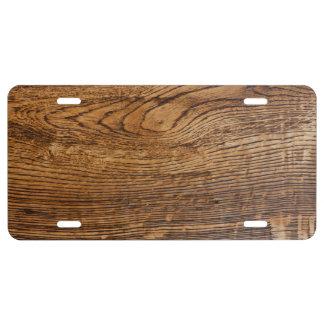 Old wood grain look license plate
