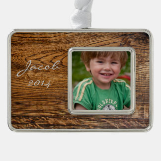 Old wood grain look silver plated framed ornament