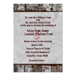 Old Wood, Gray Parchment Swirl Wedding Invitations