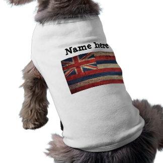 Old Wood Hawaii Flag; Doggie Tshirt