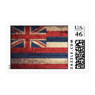Old Wood Hawaii Flag Postage Stamps