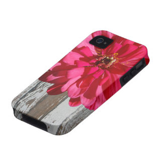 Old Wood Hot Pink Zinnia Country iPhone 4 Cover
