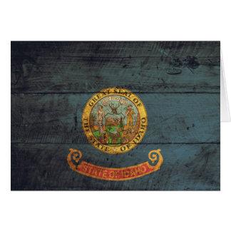Old Wood Idaho Flag; Card