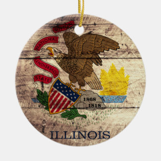 Old Wood Illinois Flag; Ceramic Ornament