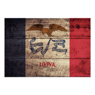 Old Wood Iowa Flag; Poster