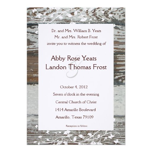 Old Wood Look Country Wedding Invitation--White