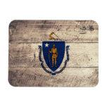 Old Wood Massachusetts Flag Rectangular Magnets