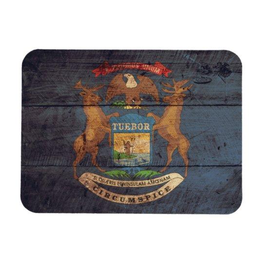 Old Wood Michigan Flag Magnet