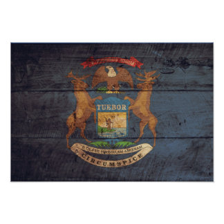 Old Wood Michigan Flag Poster