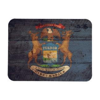 Old Wood Michigan Flag Rectangular Photo Magnet