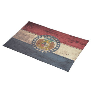 Old Wood Missouri Flag; Cloth Placemat