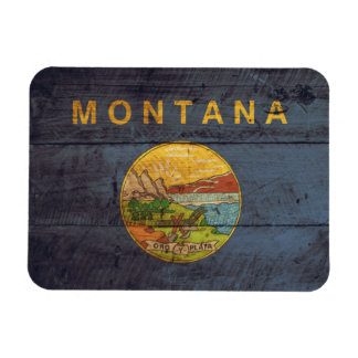 Old Wood Montana Flag Magnet