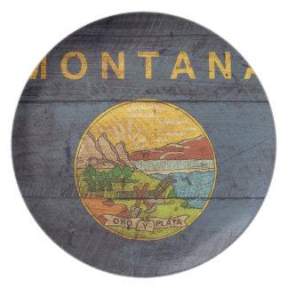 Old Wood Montana Flag Plate