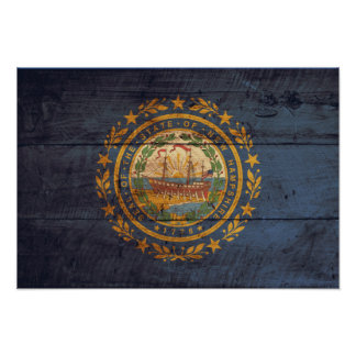 Old Wood New Hampshire Flag; Poster