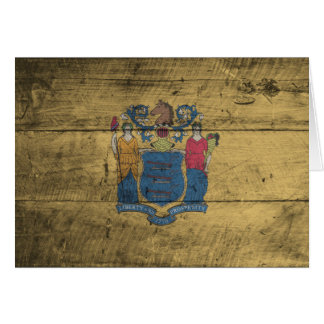 Old Wood New Jersey Flag; Card