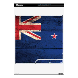 Old Wood New Zealand Flag; Decals For PS3 Slim