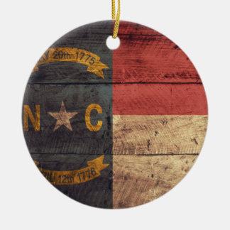 Old Wood North Carolina Flag; Double-Sided Ceramic Round Christmas Ornament