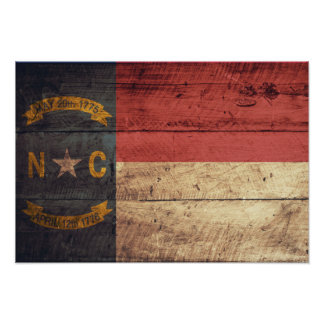 Old Wood North Carolina Flag; Poster