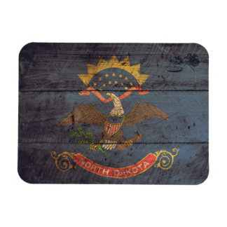 Old Wood North Dakota Flag; Rectangular Photo Magnet