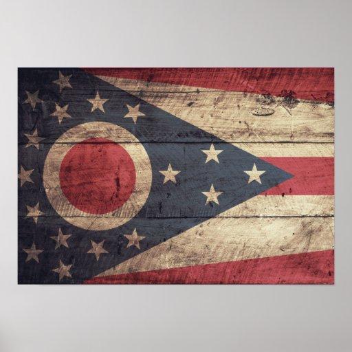 Old Wood Ohio Flag; Posters