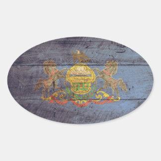 Old Wood Pennsylvania Flag; Oval Sticker