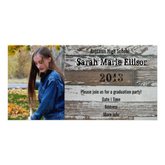 Old Wood Photo Graduation Invitation Announcement Personalized Photo Card