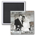 Old Wood Photo Save the Date Magnet