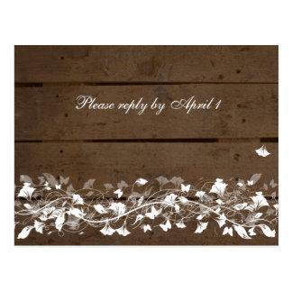 Old Wood Plank Floral RSVP Postcard
