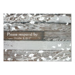 Old Wood RSVP with envelope--white Personalized Invites